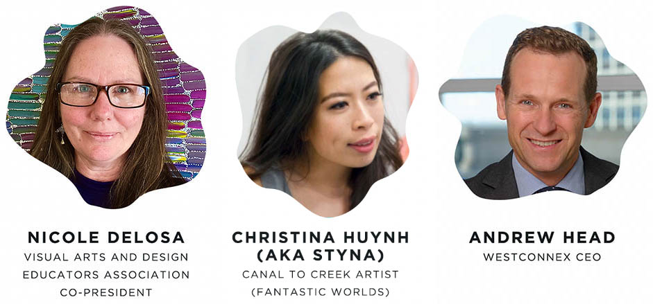 Canal to Creek Prize art competition judges: Nicole DeLosa, Christina Huynh and Andrew Head