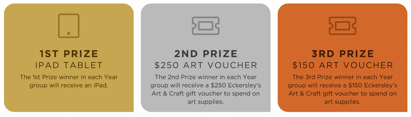 Prizes for the Canal to Creek Prize art competition: 1st place iPad tablet, 2nd place $250 Eckersleys Art and Craft voucher, 3rd place $150 Eckersleys Art and Craft voucher